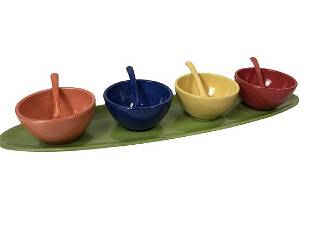 POTTERY BARN COLORFUL SERVING BOWLS TRAY 21