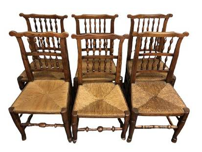 6 ANTIQUE WOOD AND CANE DINING CHAIRS