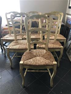 6 RUSTIC COUNTRY CHIC WOOD & CANE DINING CHAIRS