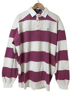 POLO RALPH LAUREN PINK / WHITE RUGBY LS SHIRT L