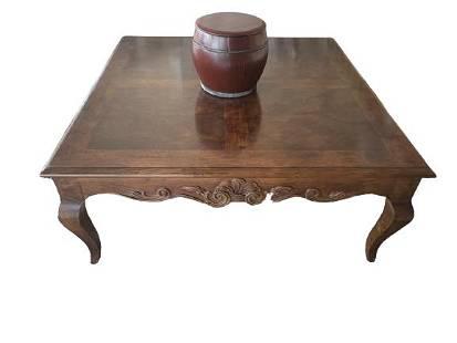 BROWN SQUARE COFFEE TABLE W/ BURLWOOD TOP
