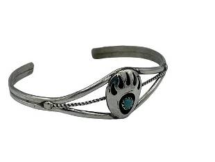 STERLING SILVER TURQUOISE BEAR CLAW BRACELET