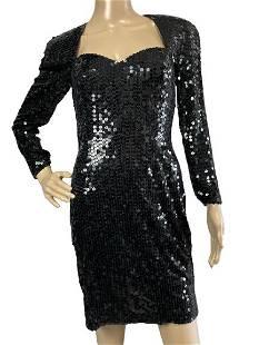 VINTAGE CACHE BLACK SEQUIN EVENING DRESS SIZE 6