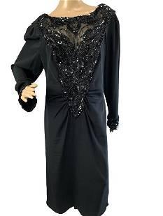 VINTAGE DELLA ROUFOGALI BLACK EVENING DRESS SZ L