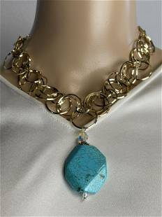 CIRCULAR CHAIN NECKLACE WITH BLUE STONE