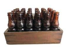 24 VTG UNCLE JO BROWN GLASS BOTTLES & WOOD CRATE