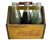 VTG 1940'S  COCA COLA WOOD CARRIER & GLASS BOTTLES