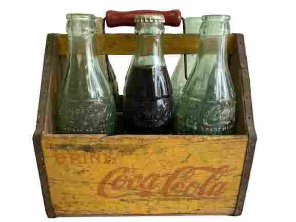 VTG 1940'S  COCA COLA WOOD CARRIER & GLASS BOTTLES