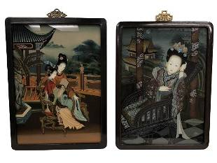 """2 VINTAGE CHINESE REVERSE GLASS PAINTINGS 23.5"""""""