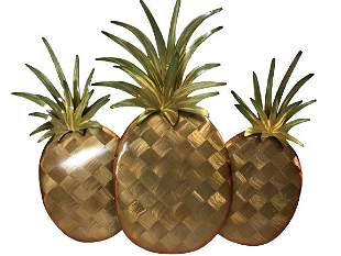 VINTAGE COPPER ART WALL HANGING PINEAPPLES
