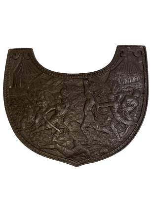"""ANTIQUE FRENCH IRON ARMOR GORGET 9.5"""""""