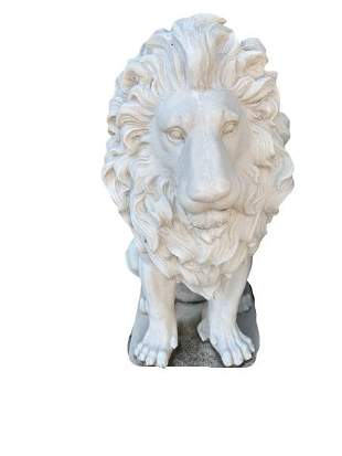 PAIR OF COMPOSITE WHITE LIONS