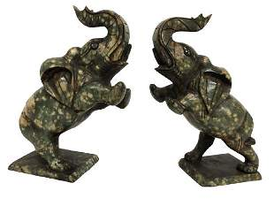 PAIR OF GRANITE LUCKY ELEPHANT BOOK ENDS