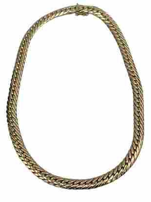 "14 K YELLOW GOLD HERRINGBONE NECKLACE 16 1/4"" L"