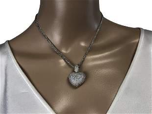 STUNNING DIAMOND PENDANT NECKLACE 18K WHITE GOLD