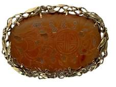 ANTIQUE 14K GOLD AND RED JADE BROOCH