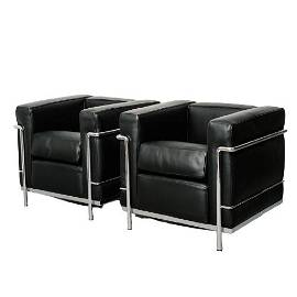 PAIR OF LE CORBUSIER LEATHER &CHROME LOUNGE CHAIRS
