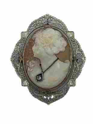 VINTAGE SILVER FILIGREE CAMEO PENDANT WITH DIAMOND