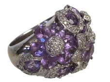14K GOLD DIAMOND AND AMETHYST RING SIZE 8