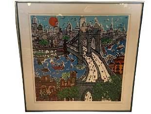 """VTG SOKOL NEW YORK CITY FRAMED WALL ART PRINT 41"""""""