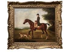 "ANTIQUE HUNTING HORSE & DOG PAINTING FRAMED 32"""
