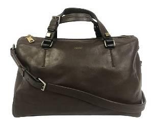CELINE BROWN LEATHER 2 WAY BOSTON SHOULDER BAG