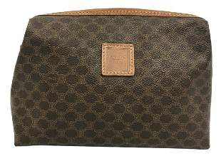 CELINE BROWN CANVAS ZIPPERED COSMETIC POUCH