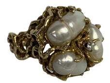 VTG 14K YELLOW GOLD DIAMOND  PEARL RING SZ 6
