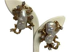 VTG TIFFANY & CO 14K GOLD & PEARL CLIP-ON EARRINGS