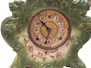 ANTIQUE AMERICAN GILBERT PORCELAIN SHELF CLOCK