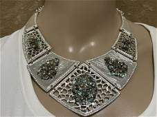 VINTAGE COSTUME EGYPTIAN SILVER NECKLACE