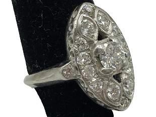 GORGEOUS DIAMOND RING SET IN 10K WHITE GOLD SZ 4.5