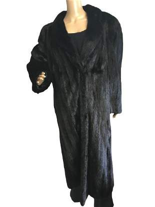 VTG WOMEN'S FULL-LENGTH BLACK MINK FUR COAT SZ 14