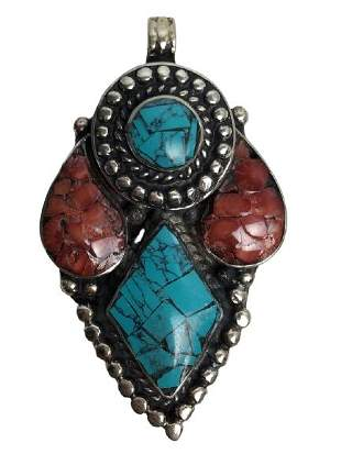 VTG STERLING SILVER RED & TURQUOISE NECKLACE CHARM