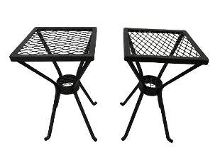PAIR OF MODERN WROUGHT IRON OUTDOOR END TABLES