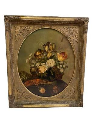 ANTIQUE OIL ON CANVAS W/ HAND CARVED WOODEN FRAME
