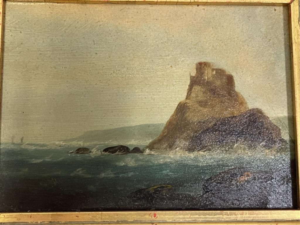 ANTIQUE OIL ON CANVAS SEA SCAPE PAINTING