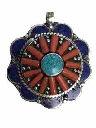 VTG STERLING SILVER TURQUOISE & RED CORAL PENDANT