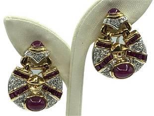 18K YELLOW GOLD EARRINGS W/RUBIES AND DIAMOND