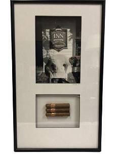 """SHEILA WALTERS B/W PHOTO & CIGAR FRAMED ART 27.5"""""""