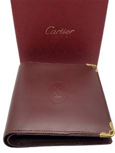 """VTG CARTIER RED LEATHER WALLET IN BOX 4"""""""
