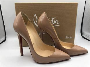 LOUBOUTIN PATENT NUDE HIGH HEEL SHOES SIZE 7.5