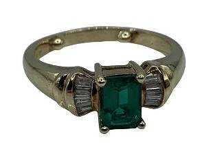 10K YELLOW GOLD DIAMOND EMERALD SET RING SZ. 7.5