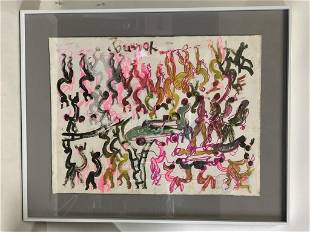 """PURVIS YOUNG ORIGINAL OUTSIDER ART PAINTING 24"""""""