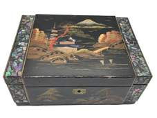 "ASIAN BLACK LACQUER ABALONE BORDER JEWEL BOX 9.5"""