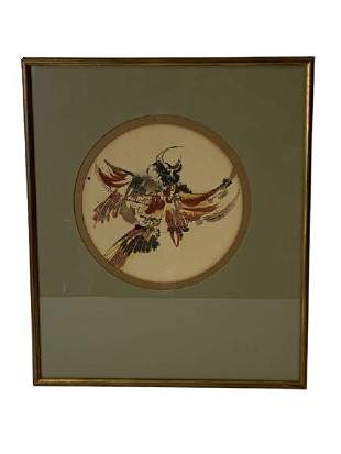 """VTG NATIVE STYLE WATERCOLOR BIRD PAINTING 21"""""""
