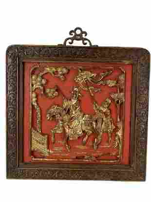 """VTG HAND CARVED RED & GOLD GILT WALL PLAQUE 12"""""""