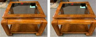 """PAIR OF MING STYLE CHINOISERIE SIDE TABLES 24"""""""