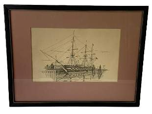 "U.S.S. CONSTITUTION ""OLD IRONSIDES"" ETCHING 16"""