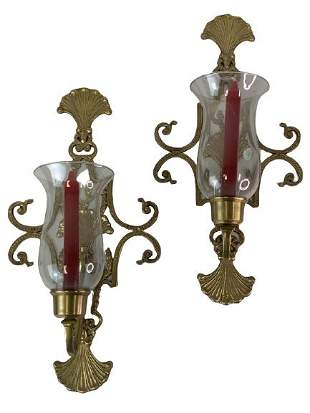 FRENCH VICTORIAN STYLE HURRICANE WALL SCONCES 19.5